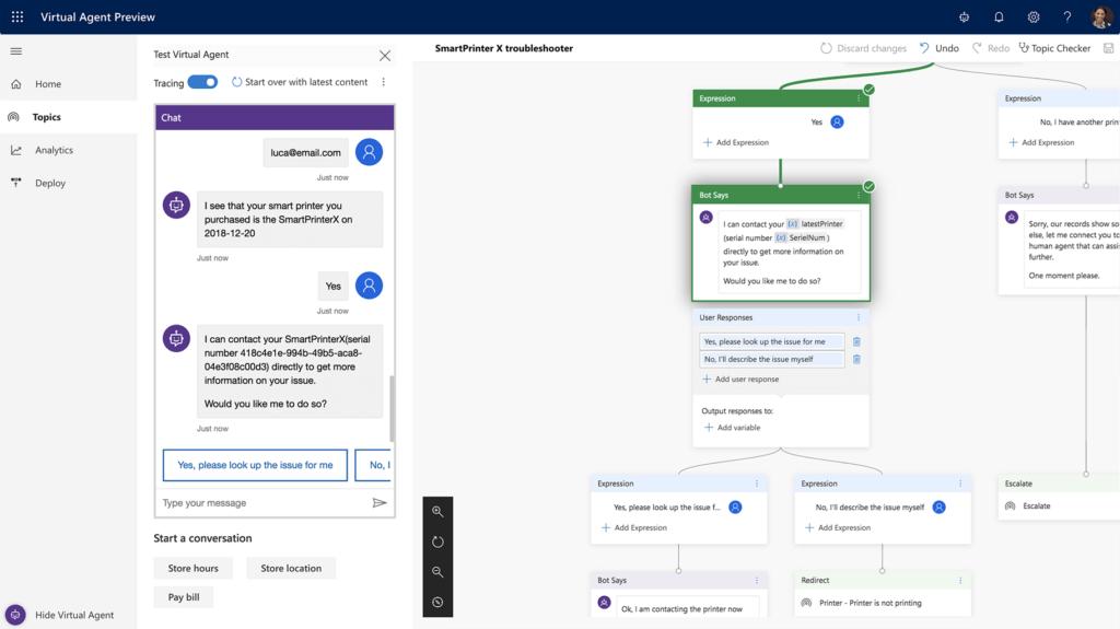 Captura de pantalla de la interfaz de Dynamics 365 Virtual Agent for Customer Service